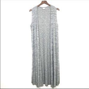 LULAROE Joy Heather Gray Green Long Sweater Vest